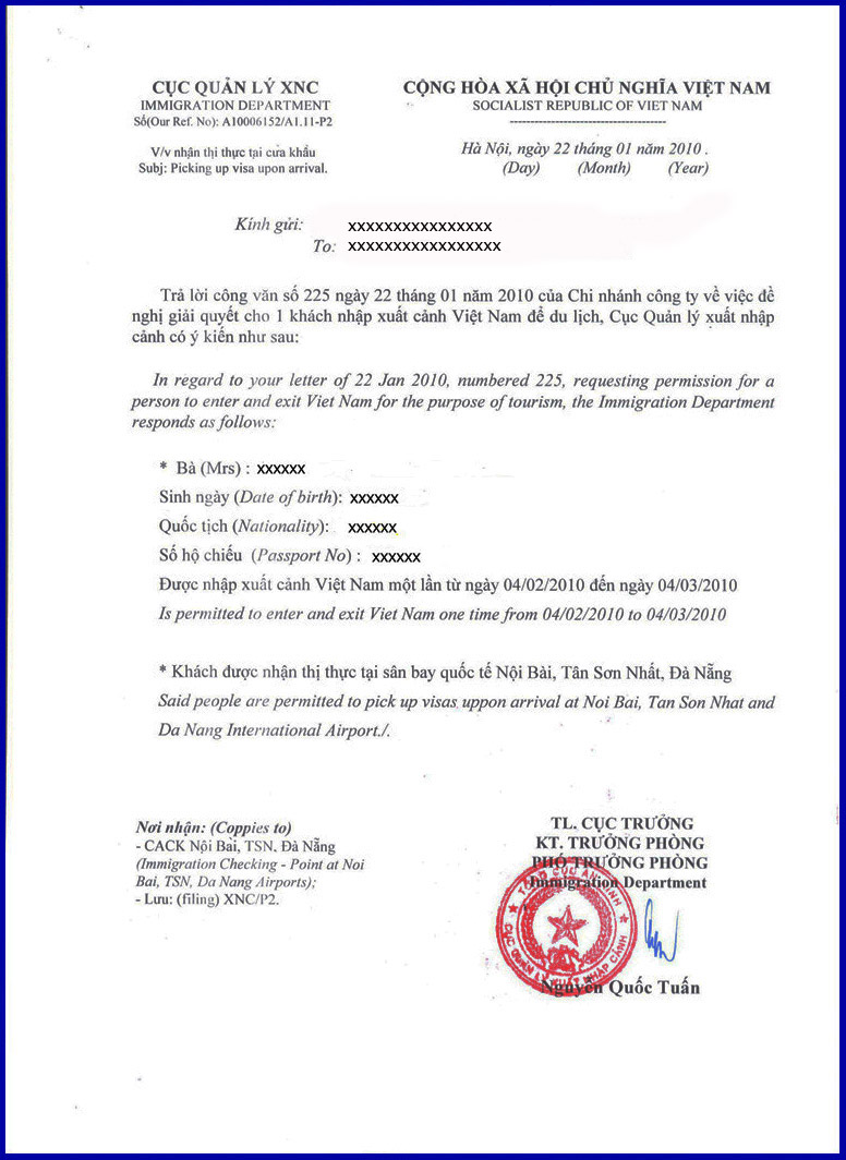 example visa approval letter