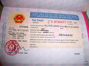 vietnamese visa in passport